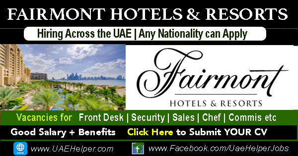 fairmont careers - hotel jobs in Dubai
